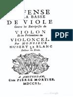 Leblanc Défense de La Basse de Viole Contre Les Entréprises Du Violon Et Les Prétentions Du Violoncel
