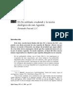 El de Utilitate Credendi y La Teoría Dialogica de San Agustin