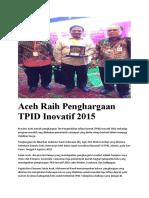 Aceh Raih Penghargaan TPID Inovatif 2015