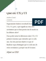 Qué es UX y UI?
