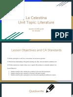 la celestina  unit topic  literature