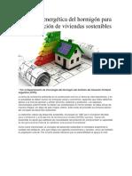 Eficiencia Energética Del Hormigón Para La Construcción de Viviendas Sostenibles