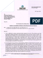 Letter to Ex. Eng CA PWD(NH) Bhopal-1