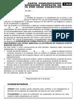 Carta Comunicado Suspension Perfecta de Labores Por Cese Colectivo