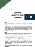 Penunjuk UU Penanaman Modal