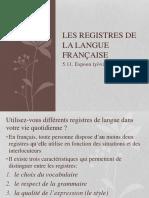 Registres de La Langue Francaise