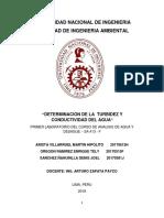 Primer Informe de Analisis de Agua Turbidez y Conductividad