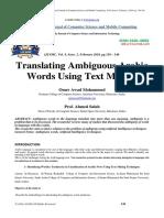 Translating Ambiguous Arabic Words Using Text Mining