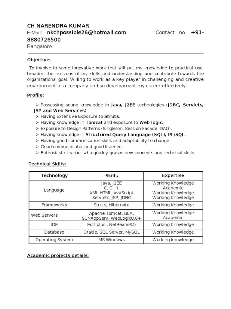 narendra fresher resume