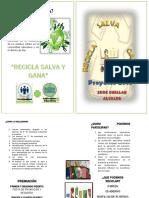 Diptico Final Programa Recicla, Salva y Gana