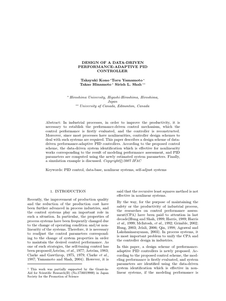 Design Of A Data Driven Performance Adaptive Pid Controller Control Theory Least Squares