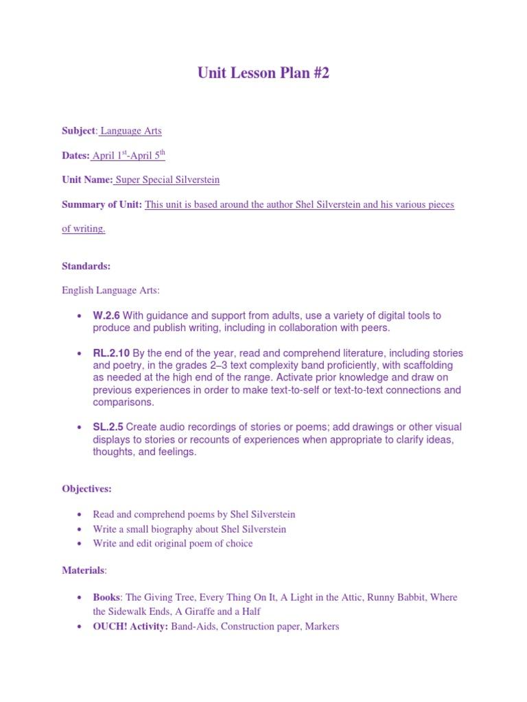 Unit Lesson Plan 2 Shel Silverstein Poetry