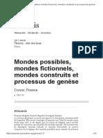 Ferrer, Daniel (2010) - Mondes Possibles, Mondes Fictionnels, Mondes Construits Et Processus de Genèse
