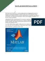 Sop for Matlab 2018 Installation