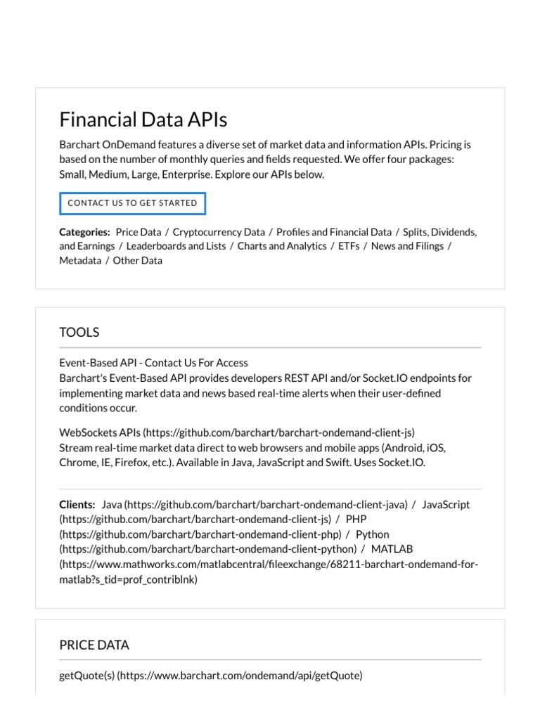 Barchart OnDemand _ Market Data APIs | Exchange Traded Fund