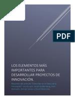 LOS ELEMENTOS MÁS IMPORTANTES PARA DESARROLLAR PROYECTOS DE INNOVACIÓN
