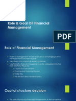Role & Goal of Financial Management