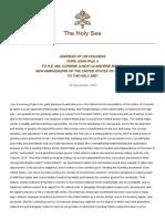 Pope John Paul II -Speech to The Embassador of usa
