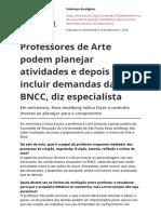 Professores de Arte Podem Planejar Atividades e Depois Incluir Demandas Da Bncc Diz Especialistapdf