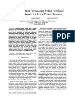 Solar Radiation Forecasting Using Artificial Neural Network for Local Power Reserve