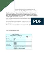 Analysis y Tabla de Observacion de Clases