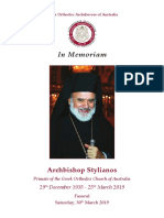 BOOKLET IN MEMORY OF ARCHBISHOP STYLIANOS OF BLESSED MEMORY