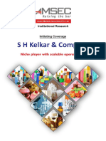 S H Kelkar & Co - Initiating Coverage