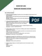 Monetary and Non Monetary Rewards