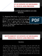Settlement of Estate of Deceased Persons Venue