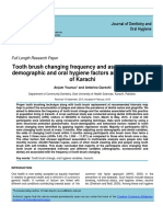 Tooth brush changing frequency and associated sociodemographic and oral hygiene factors among residents of Karachi