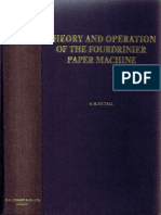 Theory and Operation of the Fourdrinier Paper Machine