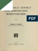 Petry - Der soziale Gehalt der Marxschen Werttheorie
