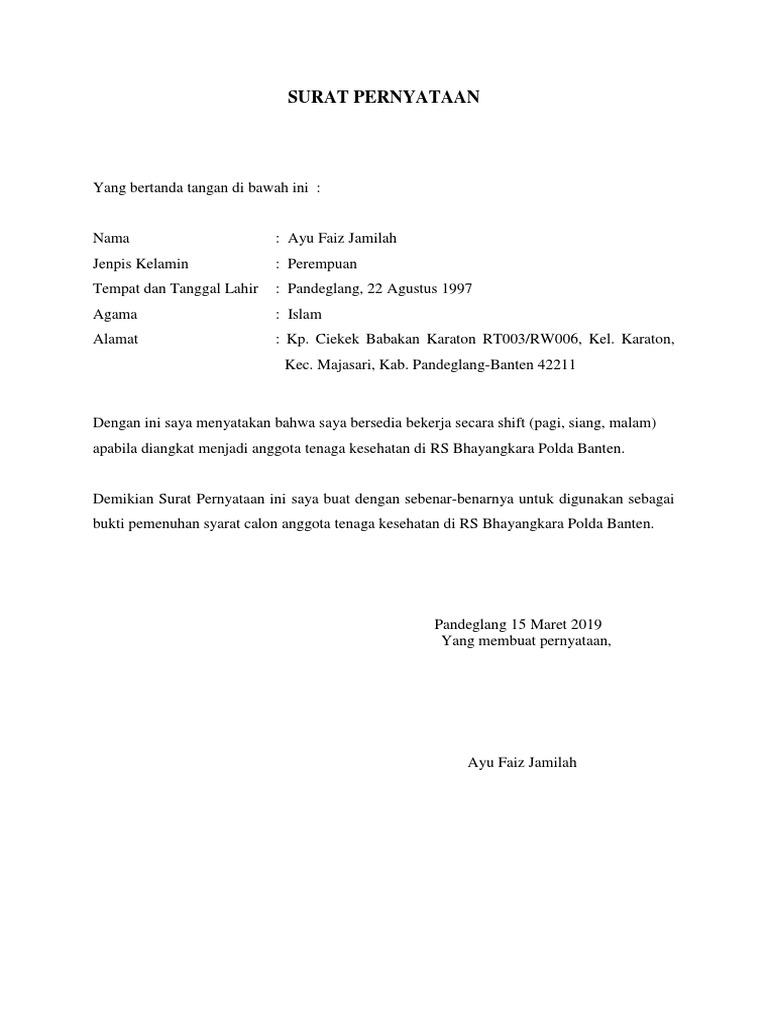 8 Surat Pernyataan Bekerja Penuh Waktu