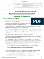Proposal Writing Hints