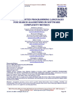 OBJECT ORIENTED PROGRAMMING LANGUAGES FOR SEARCH ALGORITHMS IN SOFTWARE COMPLEXITY METRICS