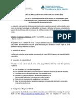 Bases y Condiciones - Estadia Corta - Francia - España 2019