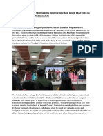 Report on National Seminar on Innovation and Good Practices in Teacher Education Programme