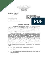 Judicial Affidavit Plaintiff