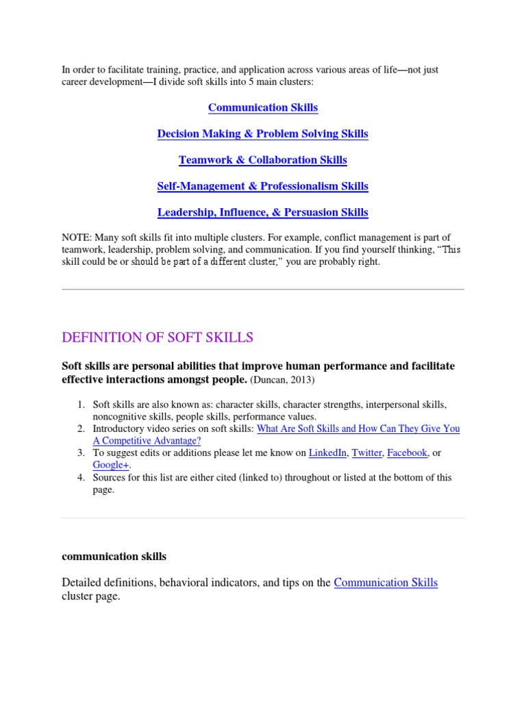 Soft Skills docx | Skill | Communication