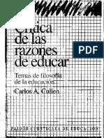 Crítica de las razones de educar cap.1