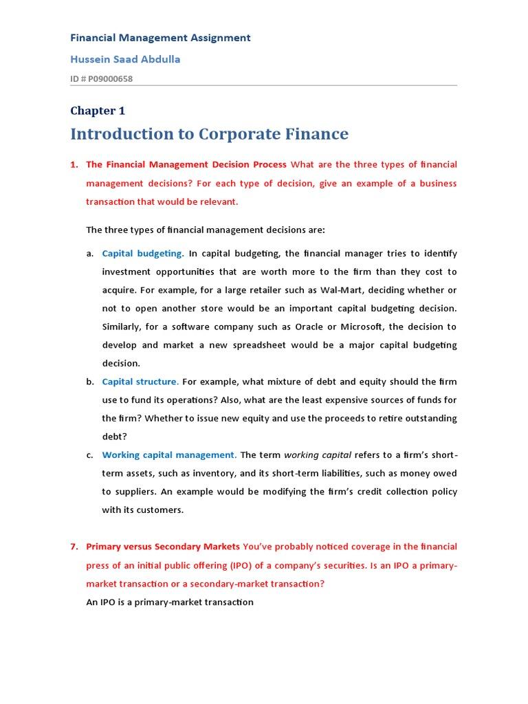 corporate finance homework answers