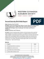 Second Saturday Bird Walk April 13, 2019 at Rocky River Nature Center Report