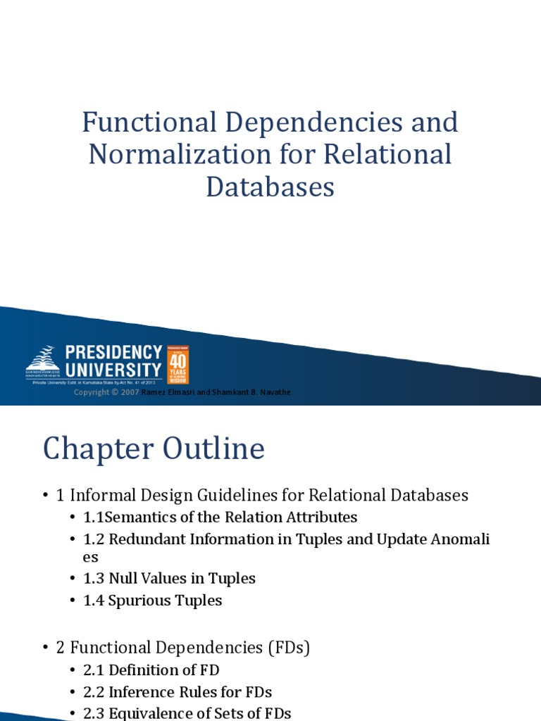 Functional Dependencies And Normalization For Relational Databases Relational Model Data Management Software