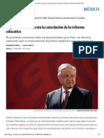 López Obrador Decreta La Cancelación de La Reforma Educativa _ Internacional _ EL PAÍS
