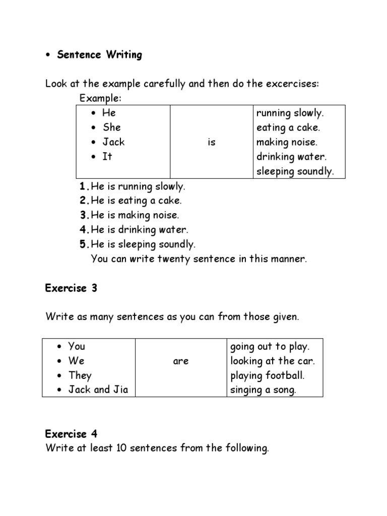 22 Sentence Writing