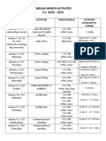 English Month Activities 2018-2019