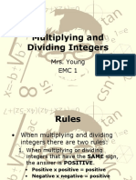 3-6 Multiplying and Dividing Integers
