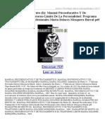 Diamantes en Bruto (II) Manual Psicoeducativo Y de Tratamiento D El Trastorno Limite de La Pers