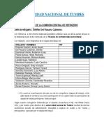 Informe de La Comisión Central de Protocolo