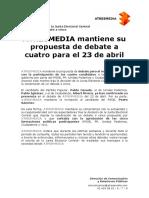 Comunicado de Atresmedia sobre el debate del día 23